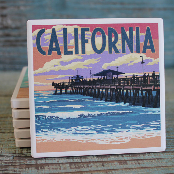 California Pier Scene Coaster