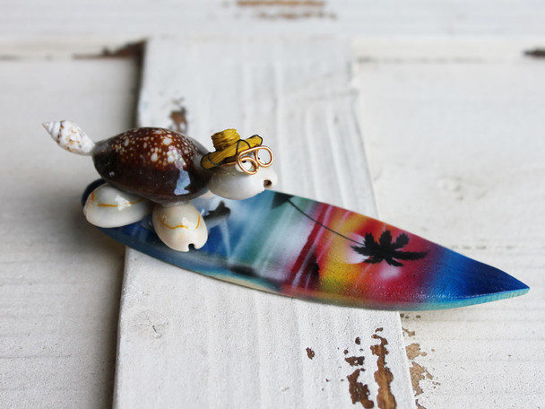 Surfin Turtle Riding a Wave