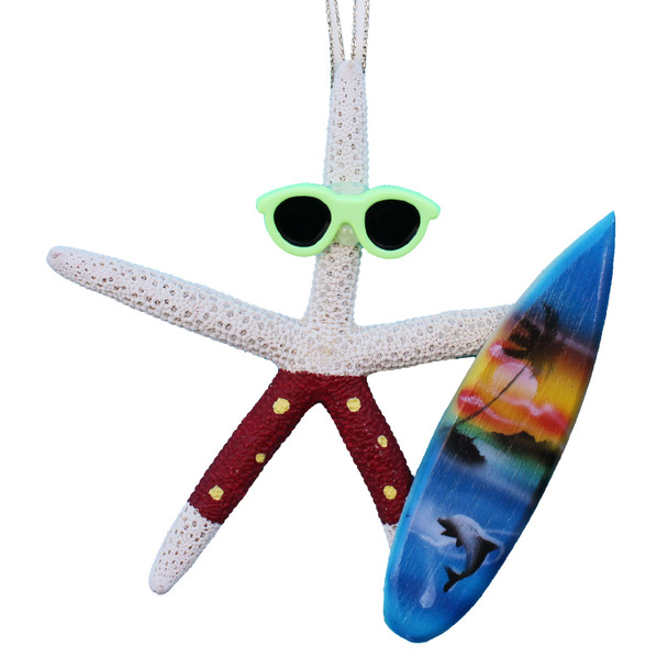 White Finger Starfish Surfer Ornament - Red