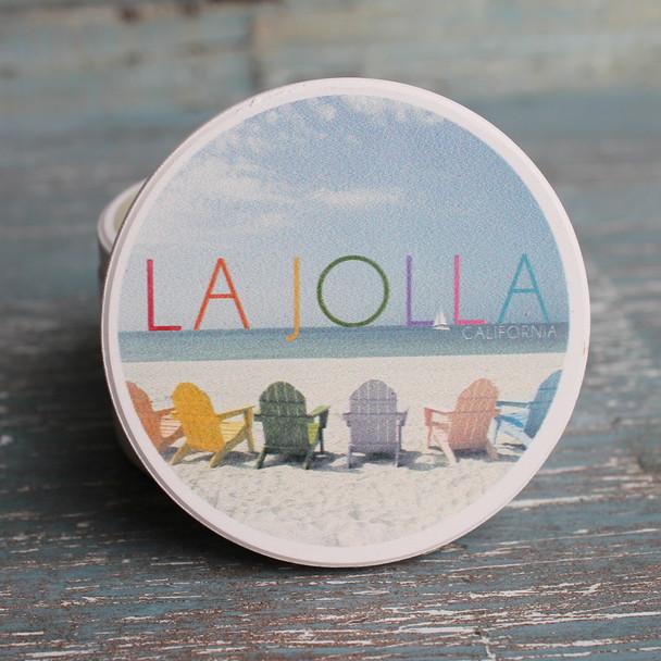La Jolla Colorful Chairs Car Coaster