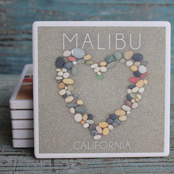 Malibu Stone Heart in Sand Coaster