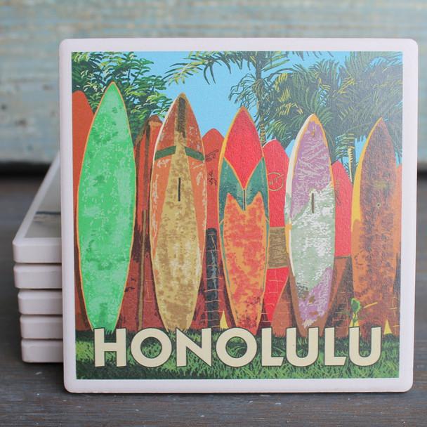 Honolulu Surfboard Fence coaster