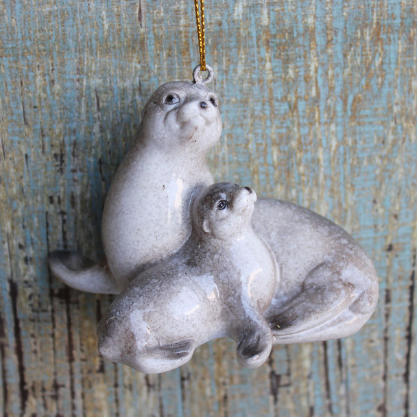 Mom & Baby Seal Ornament