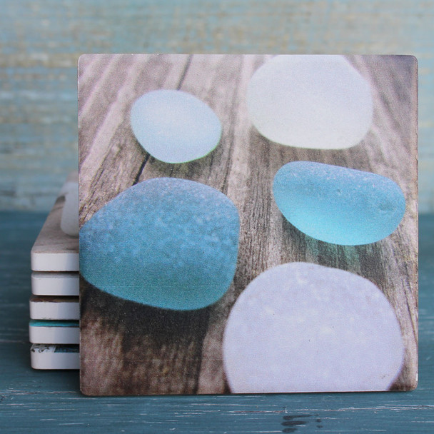 Seaglass on Wood Coaster