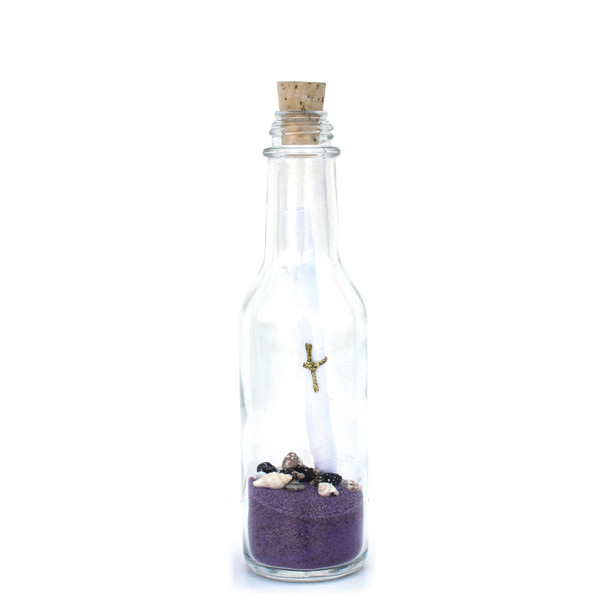 Small  Lavender Sand Message in a Bottle