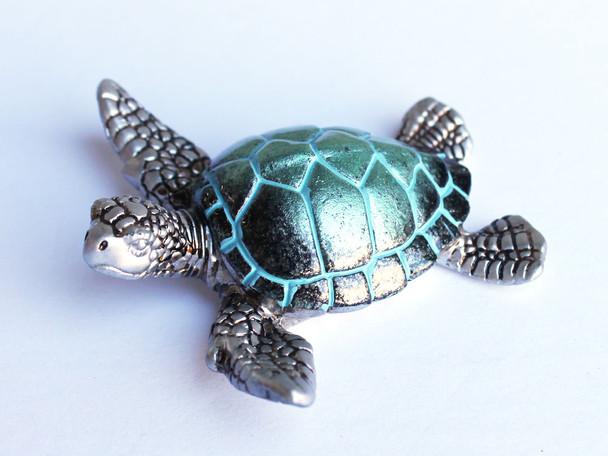 Pearl Turquoise Sea Turtle Figure