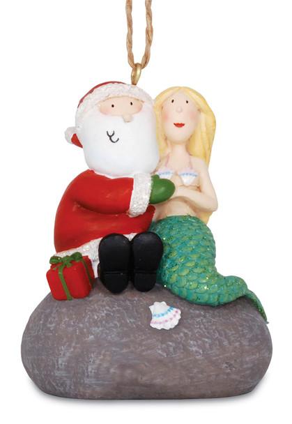 Santa and Mermaid on Rock Ornament
