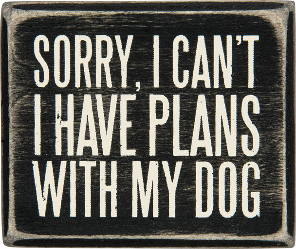 Sorry, I can't I have plans with my Dog.