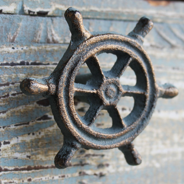 Green Iron Ship Wheel Knob