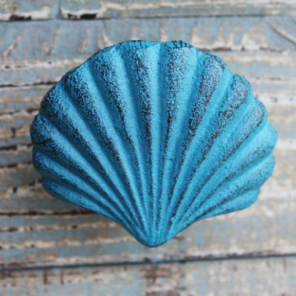 Blue Scallop Shell Iron Knob