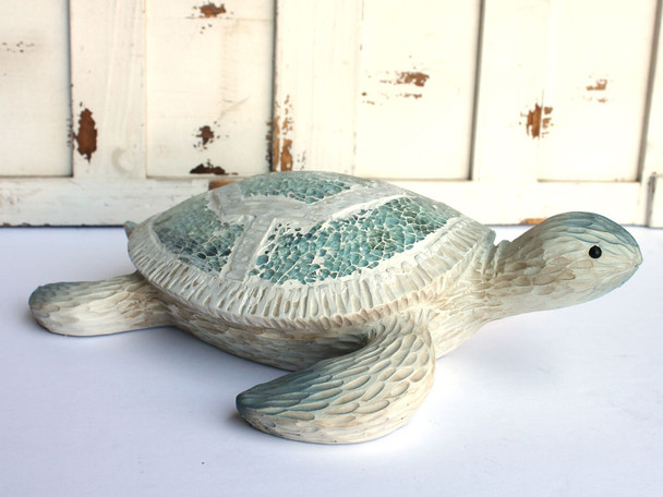 Large Crushed Glass Sea Turtle Figure