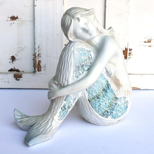 Crushed Glass Mermaid Figure