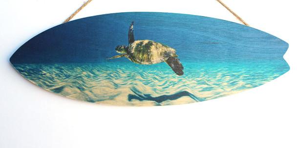 Sea Turtle Swimming Surfboard Sign