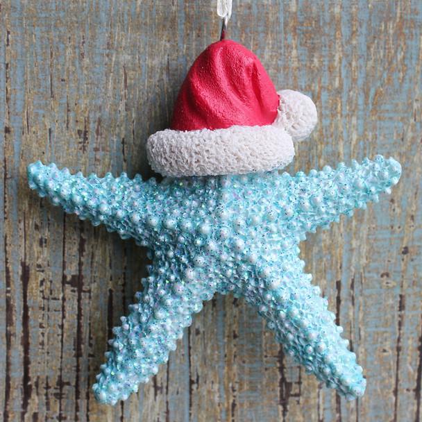 Blue Santa Starfish Ornament