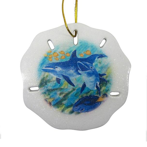 Dolphin Scene Resin Sand Dollar Ornament