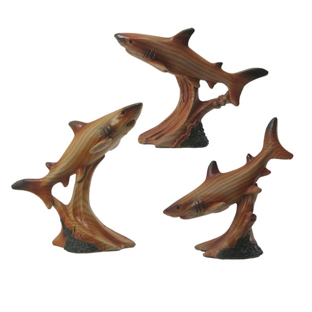 Wood Look Shark Figures