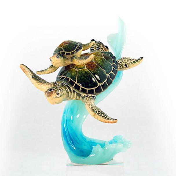 Mom & Baby Sea Turtle on Wave