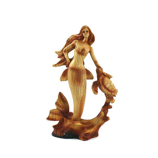 Wood Look Mermaid & Sea Turtle Figurine