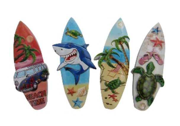 3D Surfboard Magnets - 4 Assorted