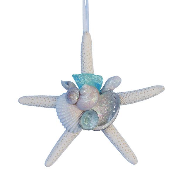 White Finger Starfish Ornament with Teal/Aqua Sea Glass