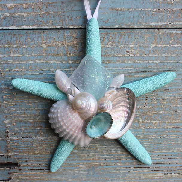 Aqua Starfish Collage Ornament with White Sea Glass
