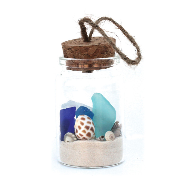 Sea Glass Beach Bottle Ornament with White Sand