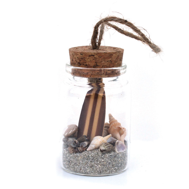 Brown Surfboard Beach Bottle Ornament with Natural Sand