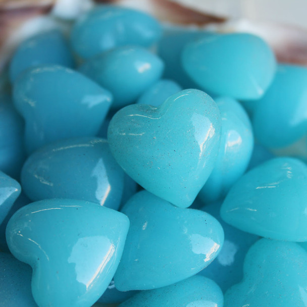 Light Blue Glass Hearts