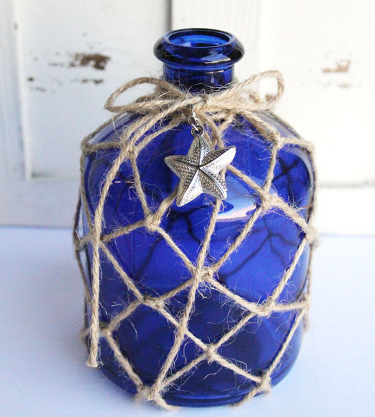 Decorative Blue Glass Bottle with Netting