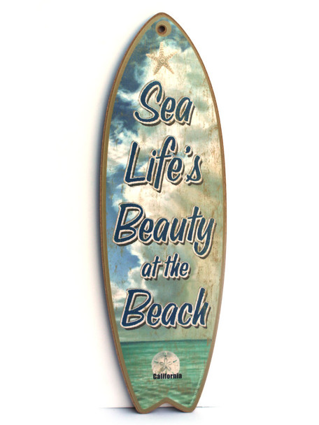 Sea Life's Beauty Surfboard Sign