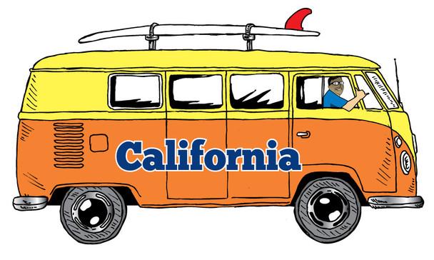 California Orange Bus Sticker