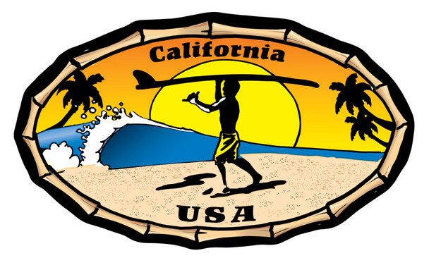 California Endless Summer Oval Bamboo Sticker