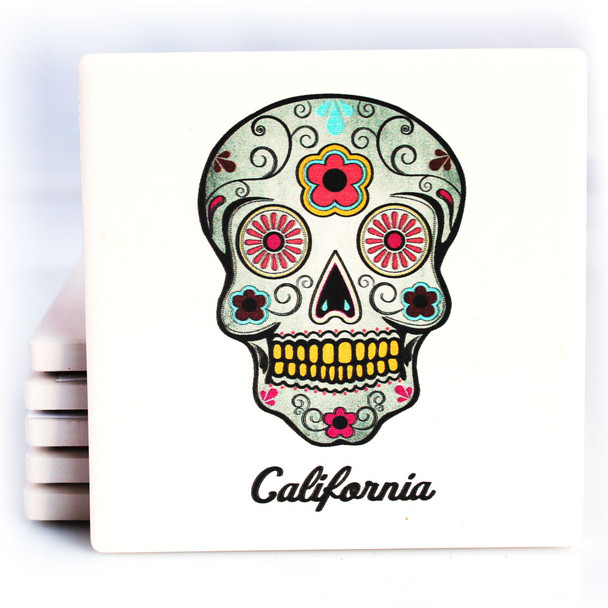 Pink Sugar Skull California Coaster