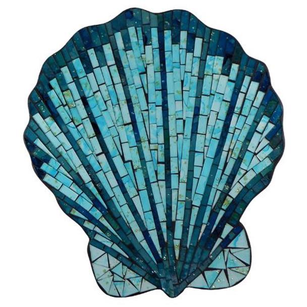 Blue Mosaic Scallop Shell