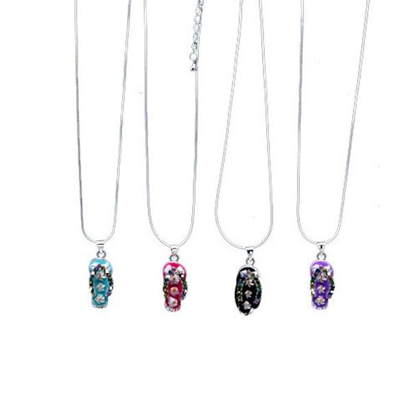 Flip Flop Rhinestone Necklaces