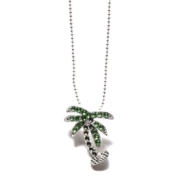 Palm Tree Rhinestone Necklace