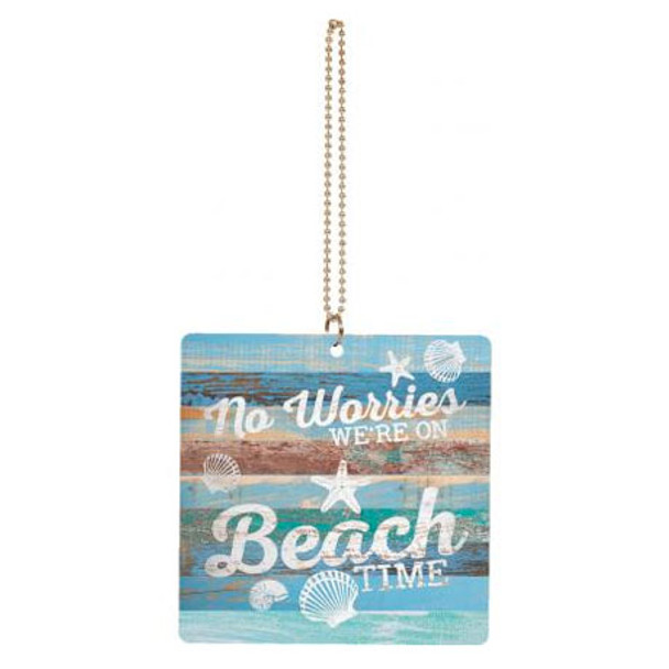 No Worries We're on Beach Time Car Charm