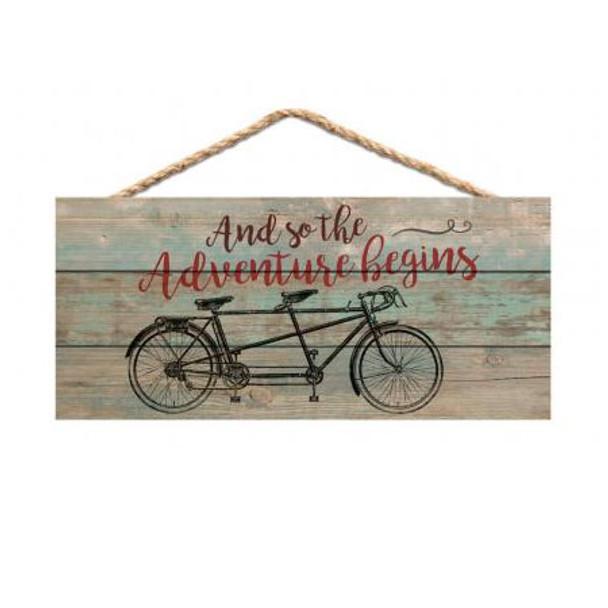 Adventure Begins Bicycle Sign