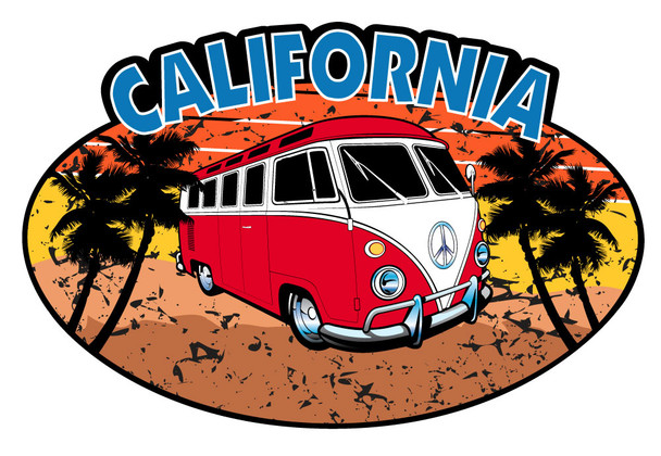 California Red Bus Oval