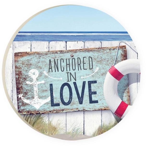 Anchored in Love Car Coaster