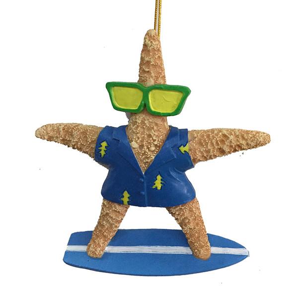 Blue Surfer Starfish Resin Ornament