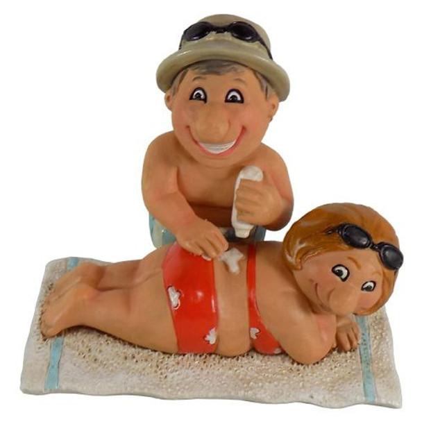 Sunblock Beach Couple Figurines