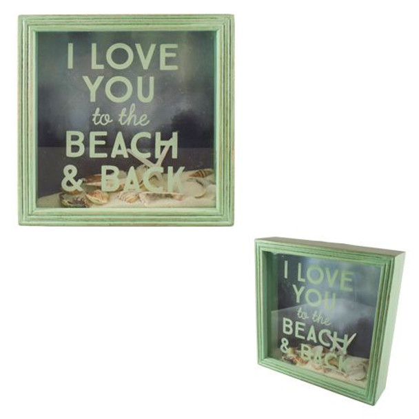 I Love You to the Beach an Back Shadow Box with Shells