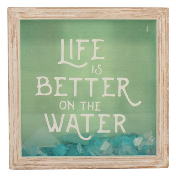 Life is Better at the Water Sea Glass Shadow Box