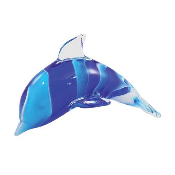 Blue Swirl Glass Dolphin