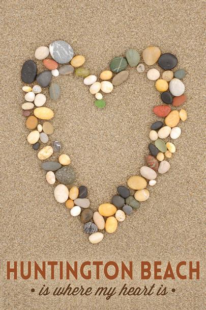 Huntington Beach Stone Heart Car Coaster