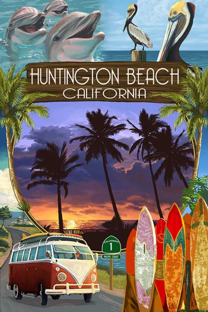 Huntington Beach Montage Car Coaster