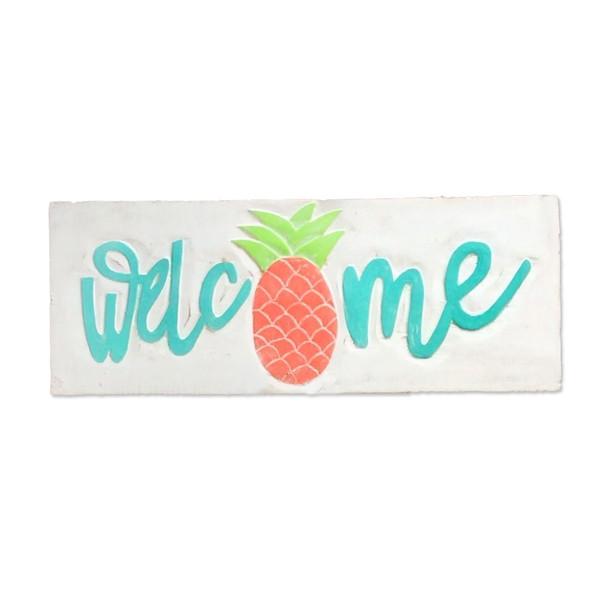 Aqua Welcome Pineapple Sign
