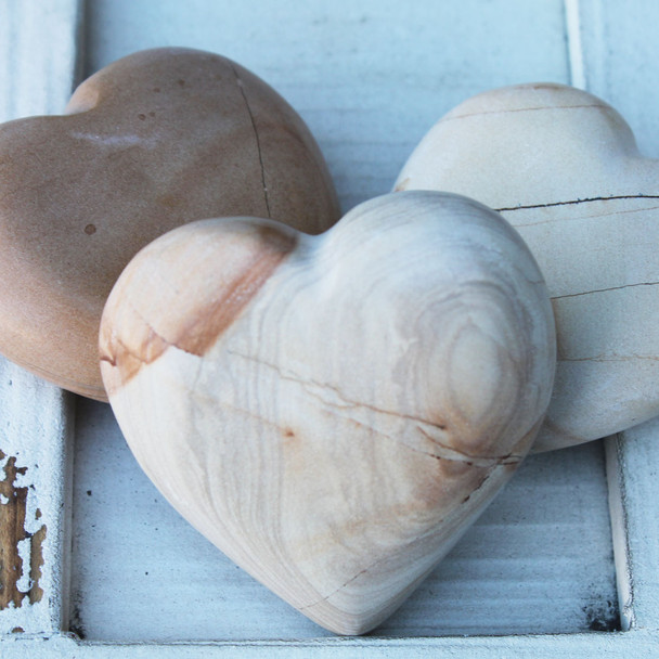 Burma Teak Stone Hearts