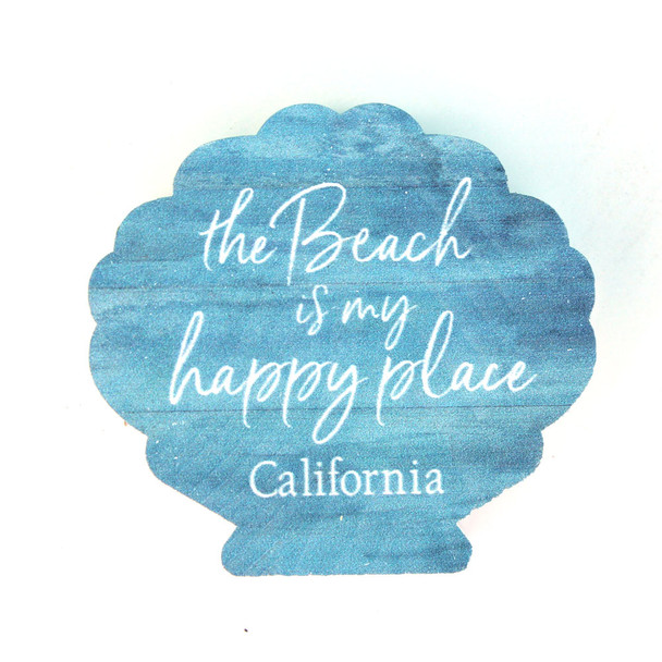 The Beach is My Happy Place Shell Shape Sign